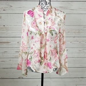 Zara Silk Sheer Floral Top